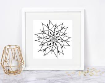 Flower Mandala Ink Drawing, Wall Art - Original Artwork