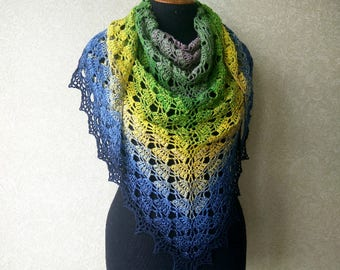 Сolor transition crochet wrap, Crochet shawl. Openwork knitted shawl, triangular shawl. Lace scarf, crochet scarf, Summer Shawl