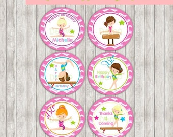 50% Off Cupcake Toppers - Tags Gymnastic, Cupcake Toppers, Gymnastic Cake Toppers, Gymnastic Tags Birthday Printables, Gymnastic party print