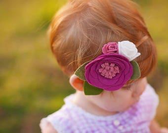 Felt flower headband - pink and white - felt flower - Rasberry Crush