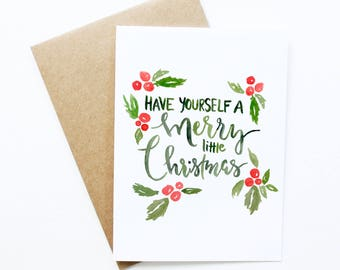 Christmas cards / Have yourself a merry little christmas / Merry Christmas Card / Mistletoe / holiday gifts /holiday card design / merry