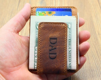 Father's Day Gift, Money Clip Wallet, Personalized Leather Wallet, Minimalist Wallet, Groomsmen Gifts, Super Slim Wallet, Magnetic Closure