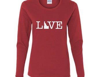 Love Idaho Shirt, Long Sleeve Idaho Shirt, Womens Idaho Shirt, Idaho Gifts, Christmas gift, gifts for her, Idaho Shirt