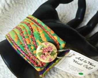 """Wrist cuff 7 """", fiber art bracelet, art to wear cuff, textile art cuff, fiber jewelry, Cuff bracelet, OOAK, Wearable wrist cuff art  #17"""