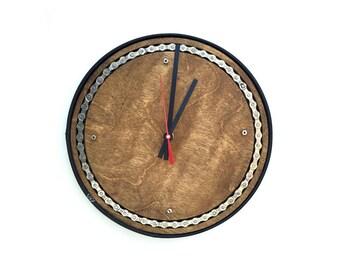 Wood Clock, Last one!! , Bike Chain, Inlay, Bike Clock, Recycled, Bike parts, Bike gift, Gift for cyclist, Home decor, Bike art, Valentine's