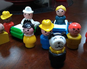 Vintage Fisher Price Little People Car LOT