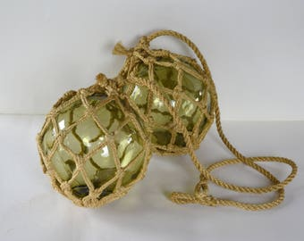 French Vintage Glass Fishing Float - Handblown Green Glass Buoy - Glass Ball with rope netting - Shabby Chic