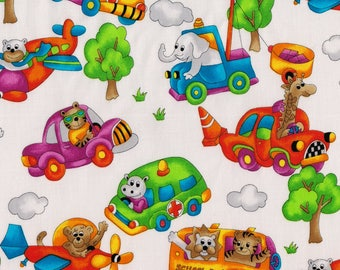 RJR Fabrics Allie's Room Animal Drivers Airplane Taxi Car School Bus Train Truck Police Ambulance Fabric Yardage OOP out of print