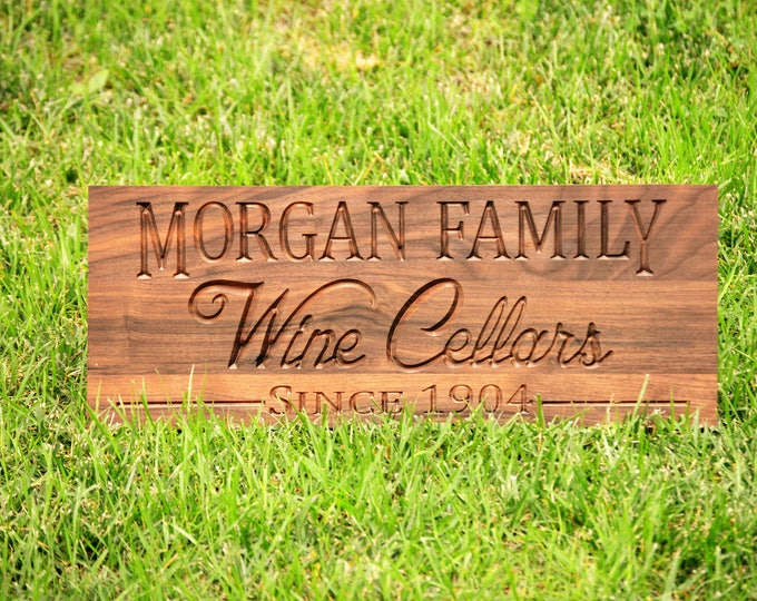 Wine Cellar Sign Wine Gifts  Unique Wine Gift, Wine Last Name Family Name Sign, Personalize Bar Sign, Custom Wine Cellar  Bar Signs Man Cave