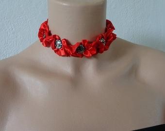 red wedding satin Choker necklace