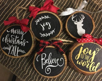 Wooden slice ornaments