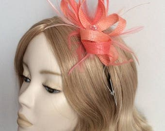TWO TONE CORAL Fascinator, Made of sinamay, hackle, coque feathers,sequins, on a headband