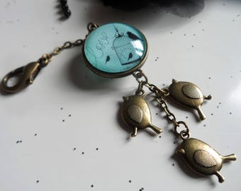 KEY holder cabochon-bronze-grigri-attache-fermoir-connecteur double sided pendant charm birds