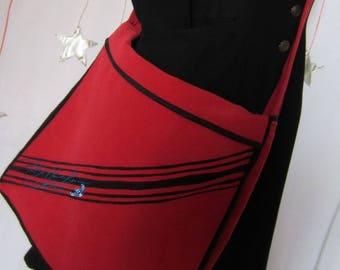 handbag red & Black, 5 inside pockets