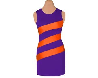 Orange + Purple Diagonal Stripe Dress
