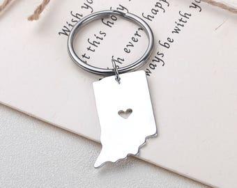 I heart Indiana keychain - Indiana keyring - Map Jewelry - State Charm - Map keychain