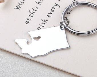 I heart Washington keychain - Washington keyring - Map Jewelry - State Charm - Map keychain