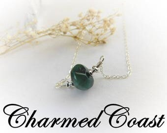 Raw Emerald Necklace - May Birthstone Necklace - Emerald - Green Gemstone necklace - Silver Necklace - Green Crystal Necklace