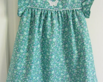 cotton green flower girl dress