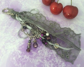 bag charm bead and gray lovely lace