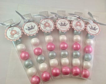 Pink and silver Little Princess baby girl shower - party favor gmball candy