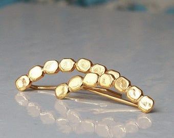 SUMMER SLE Gold ear cuff,  Sterling silver earcuff , Flattened  balls  earcuff ,   Ear Climber , Ear Sweep , Christmas  gift for her