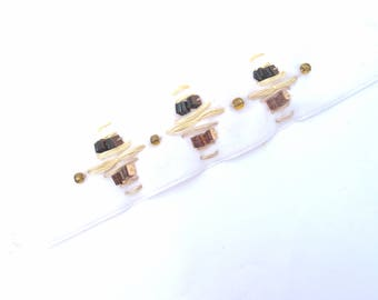 VELVET WHITE SEQUIN SQUARE 3 MM GOLD WIRE BEIGE VELVET RIBBON