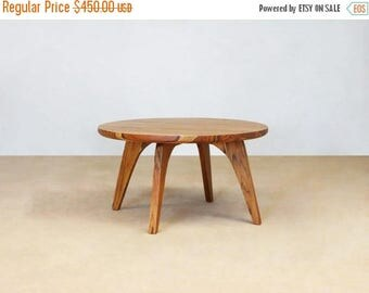 Mid Century Modern, Round Side Table, Handcrafted, Sustainably Sourced  Tropical Hardwood, Elegant