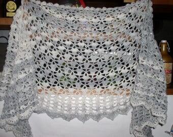 shawl neck crocheted glitter yarn