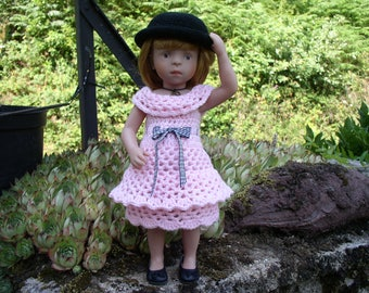 Pink dress with crochet cat doll