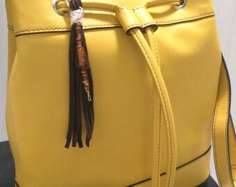 Leather Beaded Keychain Charm, Leather Bag Charm, Beaded Leather Keychain, Boho Leather Bag Charm, Summer Beach Charm, Boho Purse Accessory