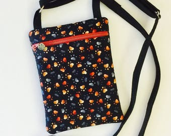 Cross Body Bag, Dog Lover Purse, Hipster Purse, Embroidered Dog Purse, Smart Phone Bag, Dog Lover, Cell Phone Bag, Dog Paw Purse, Crossbody