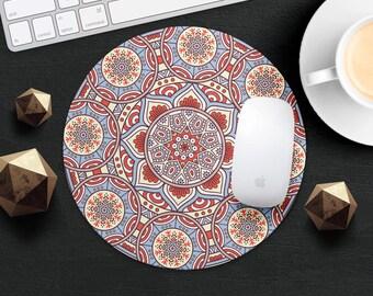MousePad Mandala Mouse Pad Buddha MouseMat Round MousePad Idea Gift Meditation Print Fabric Mouse Mat Mice Desk Accessories Red MousePad