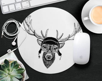 Antlers Mouse Pad Deer Mouse Mat Funny MousePad Cute Kids Mouse Pad Hipster MouseMat Animal Lover Gift Desk Accessories Animal in Glasses