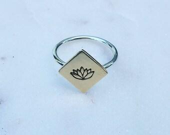 Mixed Metal Lotus Ring