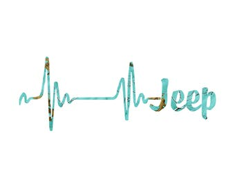 Heartbeat Jeep Camo decal /Teal CAmo