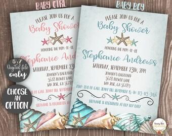 Beach Baby Shower Invitation Printable Baby Boy Or Baby Girl - Sea Seashells Starfish Anchor Invite - DIY Digital Invitation 5x7 inches