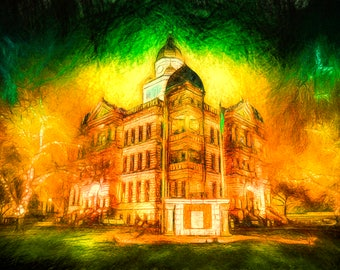 An Autumn Vision - Limited Edition Canvas Print - Denton Texas Courthouse on the Square