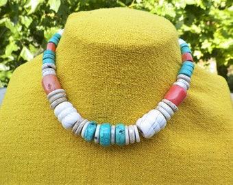 Tibetan necklace turquoise coral fossil shell 925 silver. Tibetan collar ras neck