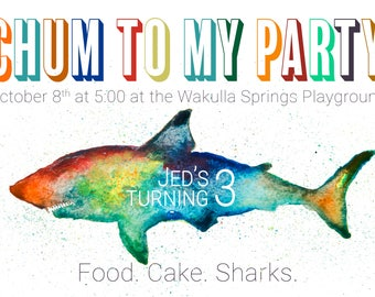 Boy's Birthday Invitations - Customized Invitations - Shark themed invitations - Shark themed birthday