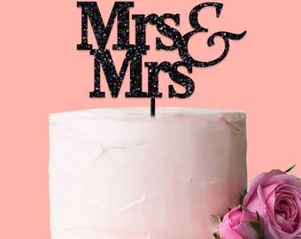 Mrs & Mrs Cake Topper Glitter Acrylic Gay Wedding Civil Partnership Engagement Fun Decoration Gift Game Idea