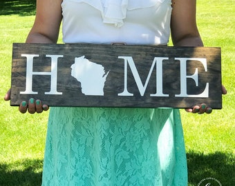 Handmade Wisconsin Home Sign | WI State Sign | Wisconsin Home Wood Sign