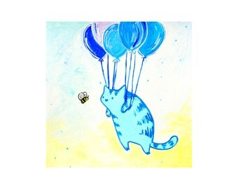Cat and Bee Limited Edition 8x8 Print
