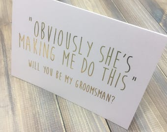 Will you be my Bestman , Usher, Gold Foil, Wedding Stationery