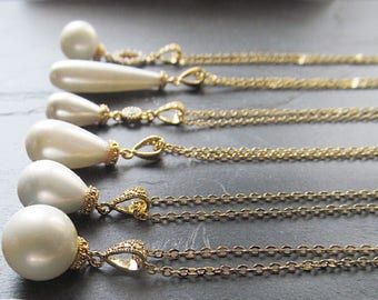 pearl wedding necklace gold, pearl drop necklace, pearl bridal necklace, pearl bridal jewelry, single pearl necklace, bridesmaids necklace