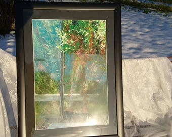 """Photo """"Bygone glory as a flourishing past/mirror image/artful/frame/glass/newly framed/greenhouses/In wood list/Glass"""