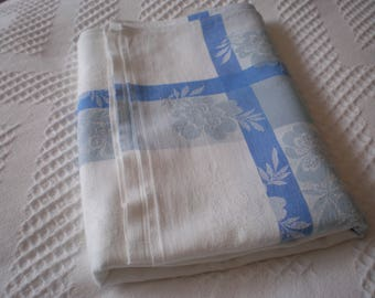 Vintage Blue and White Square Tablecloth Circa 1940s/50s Mid Century Table Linen