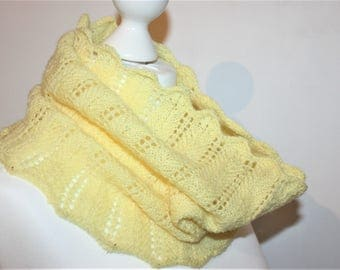 IONA Hand Knitted in Scotland Ladies Lace Cowl Neck Warmer in Shetland Pure Wool
