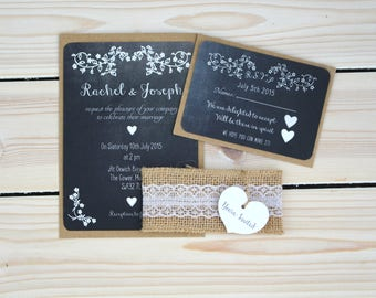 Chalkboard floral wedding invitation, rustic heart with lace and hessian band