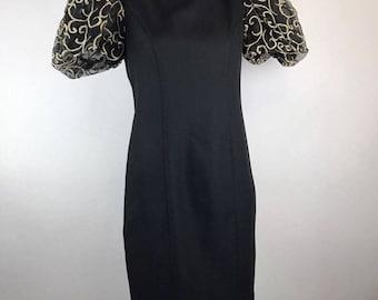 Vintage 80s Puffy Sleeve Prom Dress Black Metallic Gold Sheath Jessica Howard